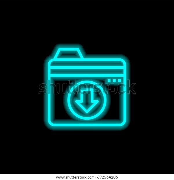 Folder blue glowing neon ui ux icon. Glowing sign logo vector