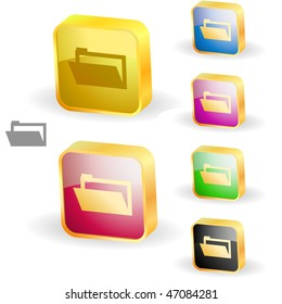 Folder buttons. Vector set.