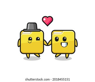 folder cartoon character couple with fall in love gesture , cute style design for t shirt, sticker, logo element