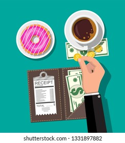 Folder with cash coins and cashier check. Coffee cup, donut. Thanks for the service in the restaurant. Money for servicing. Good feedback about waiter. Gratuity concept. Vector illustration flat style