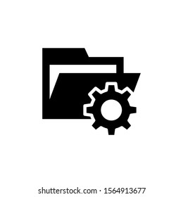 folder with cogwheel icon in black flat design on white background, Project Management icon, data management, folder, project goals, task management icon with settings sign, Project Management icon