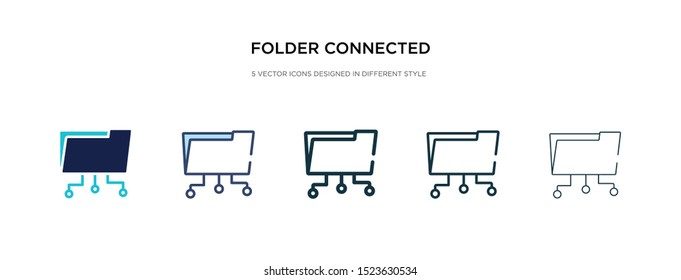 folder connected circuit icon in different style vector illustration. two colored and black folder connected circuit vector icons designed in filled, outline, line and stroke style can be used for