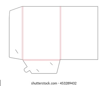 Folder die cut. Empty shablon for blank and card with lock. Stamp Template. Vector black isolated circuit, line folder on white background