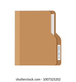 Folder with Document. Flat design vector illustration
