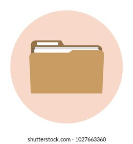 Folder with documents. Documents in the folder. Modern cartoon vector illustration in a flat style isolated on white background.