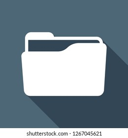 Folder of documents, portfolio with files, business icon. White flat icon with long shadow on blue background