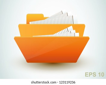 Folder with documents. Vector icon