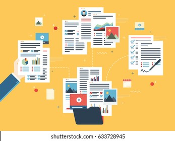 Folder with finance documents, data file, video and photo. Hands with data sheets in analysis. Contract agreement signature. Business paperwork organization concept in flat design vector illustration.
