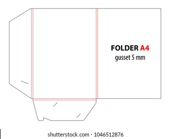 Folder with gusset 5 millimeter. Die cut stamp. Empty shablon template for A4 documents and business card with lock. Vector black isolated circuit, line folder on white background. Folder mock up.