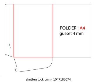 Folder with gusset die cut stamp. Empty shablon template for A4 documents and business card with lock. Vector black isolated circuit, line folder on white background. Folder mock up.