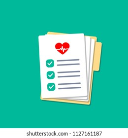 Folder with hospital documents. Doctor paperwork. Medical test results with heartbeat icon. Insurance forms illustration in flat style.