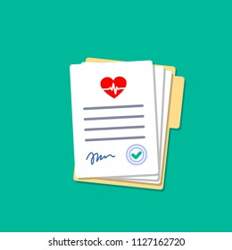 Folder with hospital documents. Doctor paperwork. Hospital documents with heartbeat icon. Medical insurance forms in flat style.