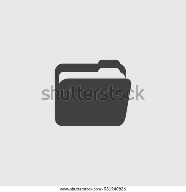 Folder icon in a flat design in black color. Vector illustration eps10