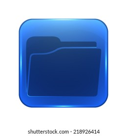 folder icon - glossy blue button