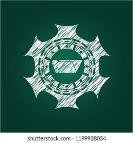 folder icon inside chalkboard emblem