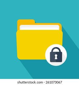 Folder icon with lock. Flat design. Vector illustration