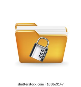 folder icon with metal lock isolated on white