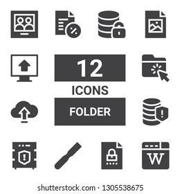 folder icon set. Collection of 12 filled folder icons included Wikipedia, File, Data protection, Database, Upload, Folder, Document, Jpeg, Picture, Hosting