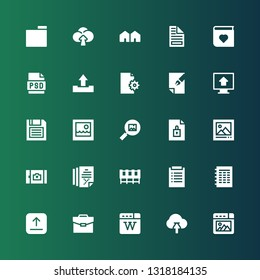 folder icon set. Collection of 25 filled folder icons included Picture, Upload, Wikipedia, Portfolio, File, Diagnosis, Cabinet, Diskette, Psd, Photo album, Attached, Folder