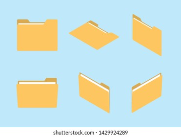 folder icon set collection with various shape and isometric modern flat style concept - vector