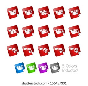 Folder Icons - 1 of 2 // Stickers Series ---- It includes 5 color versions for each icon in different layers -----