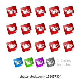 Folder Icons - 2 of 2 // Stickers Series ---- It includes 5 color versions for each icon in different layers -----