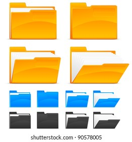 Folder icons, isolated on white background vector illustration