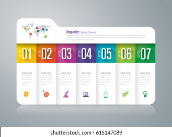 Folder infographics design vector and marketing icons can be used for workflow layout, diagram, annual report, web design. Business concept with 7 options, steps or processes.
