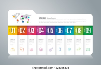 Folder infographics design vector and marketing icons can be used for workflow layout, diagram, annual report, web design. Business concept with 9 options, steps or processes.