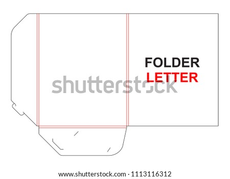 folder letter size gusset die cut stock vector royalty free