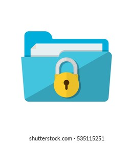 folder lock icon. File protection. Data security and privacy concept. Safe confidential information. Modern flat design vector illustration concept for web banners, web and mobile app, web sites.