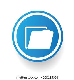 Folder on blue button background,on white background,clean vector