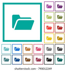 Folder open flat color icons with quadrant frames on white background