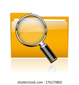 Folder with paper and magnifying glass.