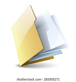 Folder with paper vector  icon, isolated on white background