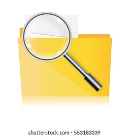 folder for papers with magnifier. vector illustration