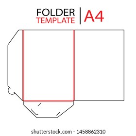 Folder presentation template die cut stamp. Empty folder template for A4 documents and business card with lock. Vector black isolated circuit, line folder on white background.