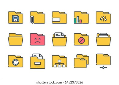 Folder related color line icon set. Document archive colorful linear icons. File organization flat color outline vector sign collection.
