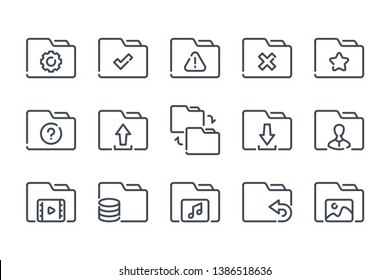 Folder related line icon set. Document archive linear icons. File organization outline vector signs and symbols collection.