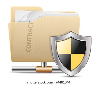 Folder Sharing Protection. Vector Icon