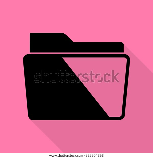 Folder sign illustration. Black icon with flat style shadow path on pink background.