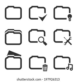 Folder Silhouette Icons Set Isolated on White Background Template Vector Illustration