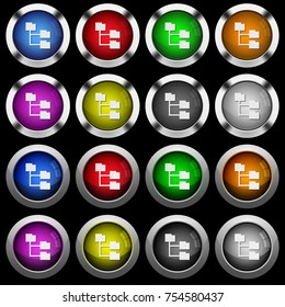Folder structure white icons in round glossy buttons with steel frames on black background. The buttons are in two different styles and eight colors.