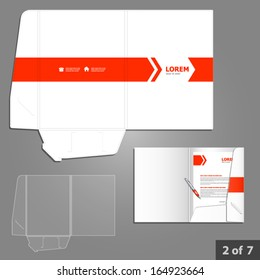Folder template design for company with red arrows. Element of stationery.