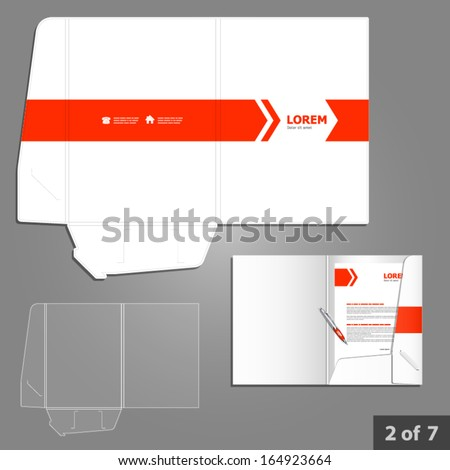 folder template design company red arrows stock vector royalty free