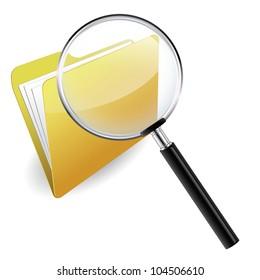 Folder under a magnifying glass