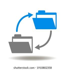Folders exchange data round arrows vector icon. Document transfer symbol. File copy illustration.