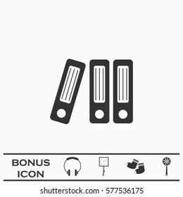 Folders icon flat. Black pictogram on white background. Vector illustration symbol and bonus button