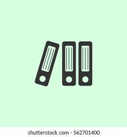 Folders icon flat. Grey vector symbol on green background