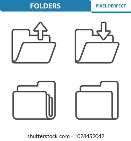 Folders Icons. Professional, pixel perfect icons optimized for both large and small resolutions. EPS 8 format. 5x size for preview.